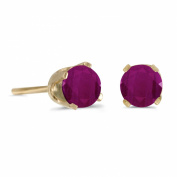 4 mm Round Ruby Stud Earrings in 14k Yellow Gold