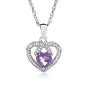 Theia Sterling Silver Heart Shape Pink Sapphire Gem Stone Diamond Pendant 46cm Chain Necklace
