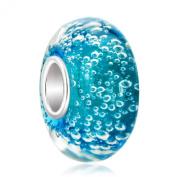 Blue Bubbles Murano Glass Charm 925 Sterling Silver Beads Fit Pandora/Chamilia Charm Bracelet