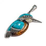 Classic Baltic Milky Amber, Silver and Turquoise Kingfisher Bird Pendant on a 42cm Silver Chain