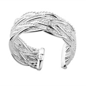*UK* SILVER PLATED SIZE P 1/2 ADJUSTABLE SLIM LATTICE WOVEN RING INTERTWINED THUMB BRAID WRAP