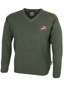 Jack Pyke Green V-Neck Shooting Jumper With Embroidered Pheasant Motif & Shouder Patches