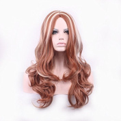 New Fashion 65cm brownish red mix Gold Long Curly Hair Synthetic Wig High Quality Wig