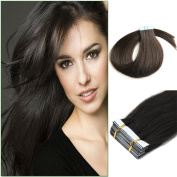 Yotty Pu Tape in 100% Remy Human Hair Extensions Fashion Style Natural Black 20pcs 41cm