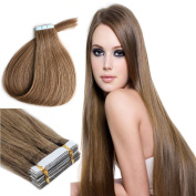 Yotty 41cm Pu Tape in 100% Remy Human Hair Extensions Beauty Style Chestnut Brown 20pcs 30g