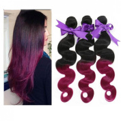 Angel Hair 5A Real Peruvian Ombre Hair Body Wave Weft 3 Bundles 100% Unprocessed Virgin Human Hair Weave Extensions #1B/99J No Shedding and Tangle Free (100+/-5G)/PC