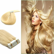 Platium Blonde PU Tape In Remy Human Hair Extensions Straight Fashion style 46cm 20pcs