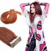 Yotty PU Tape in Remy Human Hair Extensions Fashion Style Straight Dark Auburn 46cm 40g