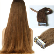 46cm Light Ash Brown Pu Tape in 100% Remy Human Hair Extensions Straight Beauty Style 20pcs 40g