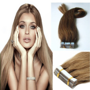 PU Tape In Remy Human Hair Extensions Straight Beauty style Light Brown 20pcs 46cm