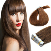 Yotty 46cm Tape in Real Human Hair Extensions Straight Beauty Hair Style Chocolate Brown