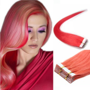 Pink PU Tape In Remy Human Hair Extensions Straight Fashion style 20pcs 46cm