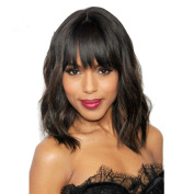 HonorHair Natural Short Human Hair Wig With Bangs Glueless Full Lace Front Wigs Brazilian Short Bob Loose Wave Lace Front Wigs For Black Woman