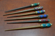 6 Pcs Assort Colour Shell Gold Plated Wood Hair Stick Pins