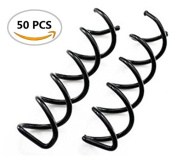 OPCC 50pcs Black Spiral Hair Pin Clip Bun Stick Pick for DIY Hair Style / Sleek and Compact Alloy Construction, Designed to Fit for All Hair Type, easy to use for your perfect bun hair style