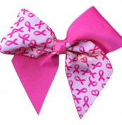 Victory Bows Large 18cm Breast Cancer Awareness Hair Bow- Hot Pink Ribbon-Made in USA- Anna Go Pony Tail Band