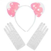 Minnie Mouse Pink White Polkadot Plush Bow Fancy Dress Party Ears + White Gloves
