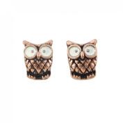 Tiny Cute Copper-tone Big Eye Owl Stud Earrings