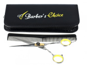 Barber's Choice Professional Hair Cutting Barber Scissors / Shears - 17cm Long, 420 Japanese Stainless Steel with Adjustment Tension Screw - Includes a Premium Carrying Case & Matching Comb