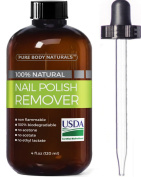 Nail Polish Remover 100% Natural - USDA Bio-certified Non-Toxic, Acetone-Free Nail Polish Remover, Effective UV Gel Nail Polish Remover Won't Dry Nails, Moisturises Cuticles Strengthens Weak Nails 120ml