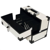 Ikee Design White Cosmetic Travel Carrying Case with Sturdy Black Aluminium Frame
