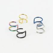Honbay 5PCS Piercing Women Girls Men 16G Stainless Steel Non-piercing Fake Lip Nose Ring Clip-on Cartilage Septum Earring Hoop