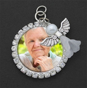 Bridal Wedding Bouquet Photo Charm Angel Silver Round Rhinestone Personalised Charm