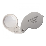 Saim® Silver White 40X_25mm Magnifying Glass Jeweller Eye Jewellery Loupe Loop LED Magnifier