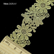 5yards Flower Gold Metallic Embroidered Scrapbooking Lace Ribbon Motif Trim Embellishment Applique Venise Sewing Accessories