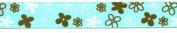 Grosgrain Aqua/Brown Flower Ribbon