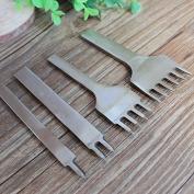 Aiskaer & Reg;stainless Steel 6mm 1/2/4/6 Prong DIY Diamond Lacing Stitching Chisel Set Leather Craft Kits