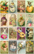 Vintage Victorian Easter Cards Collage Sheet # 103 For Art, Scrapbooking, Altered Art