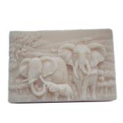 GRAINRAIN Silicone Mould Elephant Family Soap Moulds Soap Making Mould Resin Mould Handmade Soap Mould Diy Craft Art Moulds Flexible 1 pc