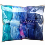 Living Dreams DISCOUNT PACK 150ml Hand Dyed Gradient BFL Wool Top Roving. Pre-Drafted Super Soft Lustrous Fibre for Spinning, Felting and Blending. 5 Colours, Blues