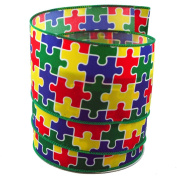 Autism Awareness Puzzle Satin Wired Ribbon #100cm - 6.4cm x 10yards