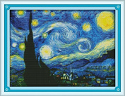 Joy Sunday® Cross Stitch Kit 14CT Stamped Embroidery Kits Precise Printed Needlework- The Starry Night of Van Gogh 47*37CM