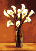 Diy oil painting, paint by number kit - White calla flowers in vase 16*50cm .