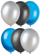 Carolina Panthers Football Super Bowl Solid 6pc Latex Balloons Blue Silver Black