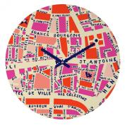 DENY Designs Holli Zollinger Paris Map Pink Round Clock, 30cm Round