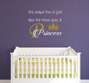 We Asked For A Girl Wall Decals Quote Princess Decal Kids Nursery Crown Vinyl Stickers Home Bedroom Decor aa143