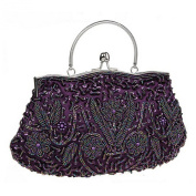 Snug star Women's Evening Clutch Two-sided Lily Beaded Sequin Design Handbag