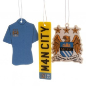 Manchester City F.C. 3Pk Air Freshener- 3 Different Designs- Approx 7Cm X 7Cm- On A Header Card- Individually Wrapped- Official Licenced Product