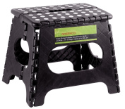 Greenco Super Strong Foldable Step Stool for Adults and Kids, 28cm , Black