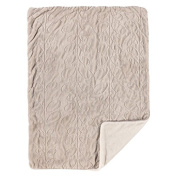 Living Textiles Natural Leaves Embroidered Velour Blanket, Grey