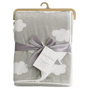 Living Textiles Printed Velour Blanket, Grey Clouds