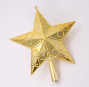 red cherry golden sculpture star christmas tree top decorations-10cm