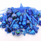 red cherry electroplate balls,snowman,icicle christmas tree decorations set-blue
