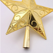 red cherry golden sculpture star christmas tree top decorations-15cm