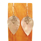 Sterling Silver Mother of Pearl Shell Dangle Earrings Bali Bay Trading Co