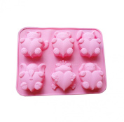 iHomeSpace 6 Cavities Different Cute Animal-shaped Love Silicone Cake Baking Mould Handmade Soap Moulds Cake Pan Muffin Cups Biscuit Chocolate Ice Cube Tray DIY Mould, Pink